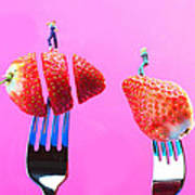 The Star On Strawberry Miniature Art Poster