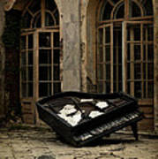 The Stone Sphere And Broken Grand Piano Poster