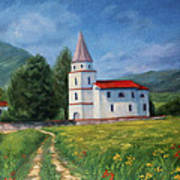 The Sunny Road Landscape With Field And Church Poster