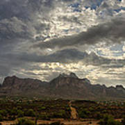 The Superstition Mountains After A Storm  Poster