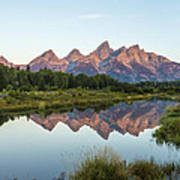 The Tetons Reflected On Schwabachers Landing - Grand Teton National Park Wyoming Poster