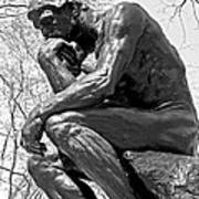 The Thinker In Black And White Poster