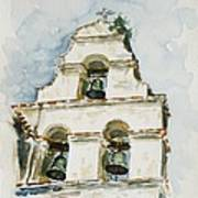The Three-bell Campanario At Mission San Juan Bautista  Poster