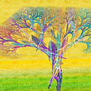 The Tree In Spring At Midday - Painterly - Abstract - Fractal Art Poster by Andee Design