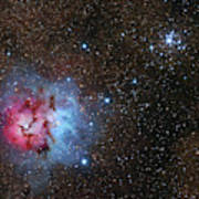 The Trifid Nebula And Messier 21 Poster