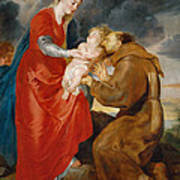 The Virgin Presents The Infant Jesus To Saint Francis Poster