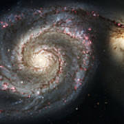 The Whirlpool Galaxy M51 And Companion Poster by Adam Romanowicz