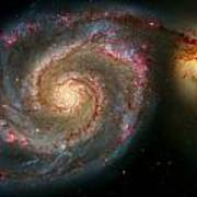 The Whirlpool Galaxy M51 And Companion Poster by Don Hammond