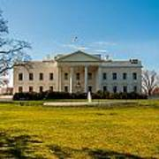 The White House In Washington Dc With Beautiful Blue Sky Poster
