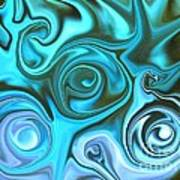 Turquoise  - Satin Swirls Poster