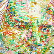Thomas Bernhard Watercolor Portrait Poster