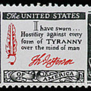 Thomas Jefferson American Credo Vintage Postage Stamp Print Poster