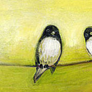 Three Birds On A Wire No 2 Poster