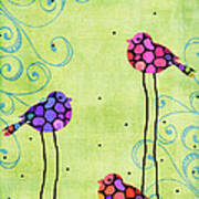 Three Birds - Spring Art By Sharon Cummings Poster