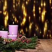 Three Candles In An Advent Flower Arrangement Poster
