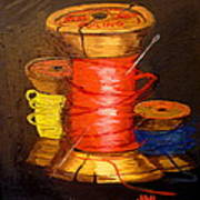 Three Colored Spools Poster