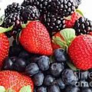 Three Fruit Closeup - Strawberries - Blueberries - Blackberries Poster by Barbara Griffin