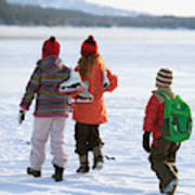 Three Kids Heading Out To Ice Skate Poster