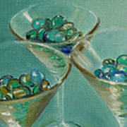 Three Martini Glasses With Jewels Poster