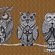 Three Owls On A Branch Leopard Print Poster