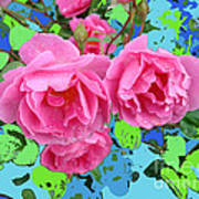 Three Pink Roses By M.l.d.moerings 2010 Poster