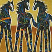 Three Ponies Poster by Lance Headlee