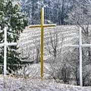 Three Roadside Crosses - Mount Airy Md Winter Poster