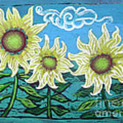 Three Sunflowers Poster