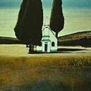 Three Trees And A Church Poster