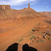 Three Women Mountain Biking In Moab Poster