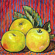 Three Yellow Apples Poster