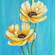 Three Yellow Poppies with Pixie Dust Poster