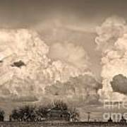 Thunderstorm Clouds And The Little House On The Prairie Sepia Poster