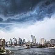 Thunderstorm Over Manhattan Downtown Poster