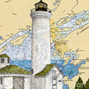 Tibbetts Pt Lighthouse Ny Lake Ontario Nautical Chart Map Art Poster