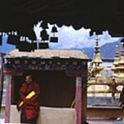 Tibetan Monk With Scroll On Jokhang Roof Poster
