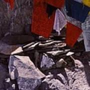 Tibetan Prayer Flags Behind The Potala Palace Poster