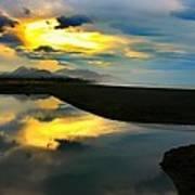 Tidal Pond Sunset New Zealand Poster