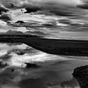 Tidal Pond Sunset New Zealand In Black And White Poster