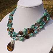 Tiger Eye And Turquoise Triple Strand Necklace 3640 Poster