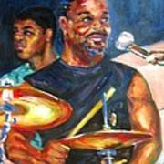 Tiger On Drums Poster