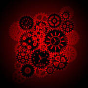 Time Clock Gears Clipart On Red Background Poster
