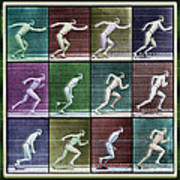 Time Lapse Motion Study Man Running Color Poster