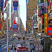 Time Square New York 20130503v8 Square Poster by Wingsdomain Art and Photography