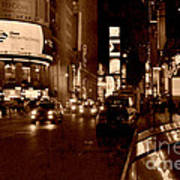 Times Square At Night - In Copper Poster