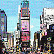Times Square Nyc Cartoon-style Poster