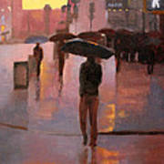 Times Square rain Poster