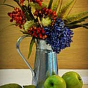 Tin Bouquet And Green Apples Poster