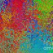 Tiny Blocks Digital Abstract - Bold Colors Poster
