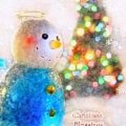 Tiny Snowman Christmas Card Poster